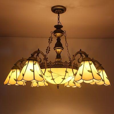 $286 Center Bowl 32 Inch Green Leaf Motif 8 Light Tiffany Chandelier  Ceiling Light