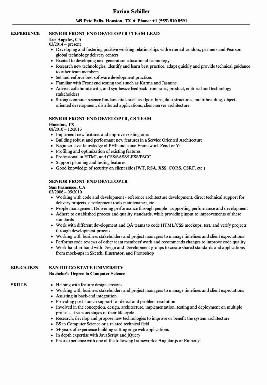 Front End Developer Resume Template Elegant Senior Front