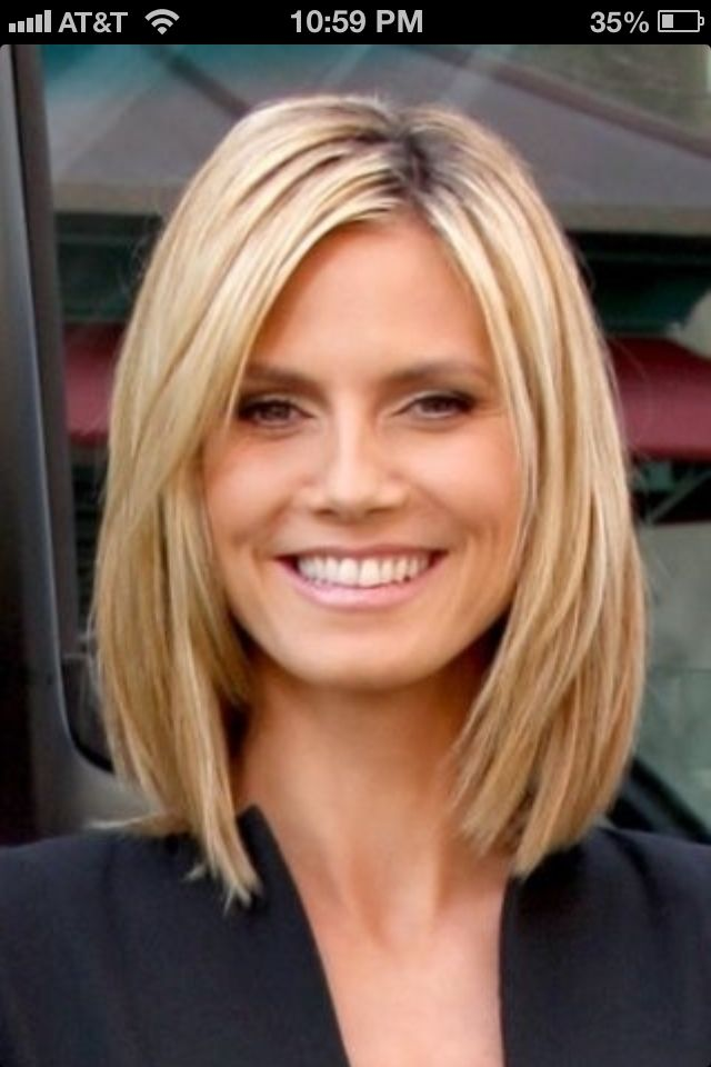 Medium hair...maybe even a little shorter? I love how this would look great natural and wavy but looks so sleek straightened too