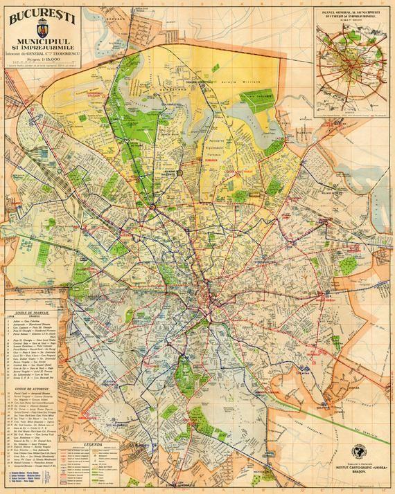 Bucharest Map Archival Fine Print Harta Orasului Bucuresti