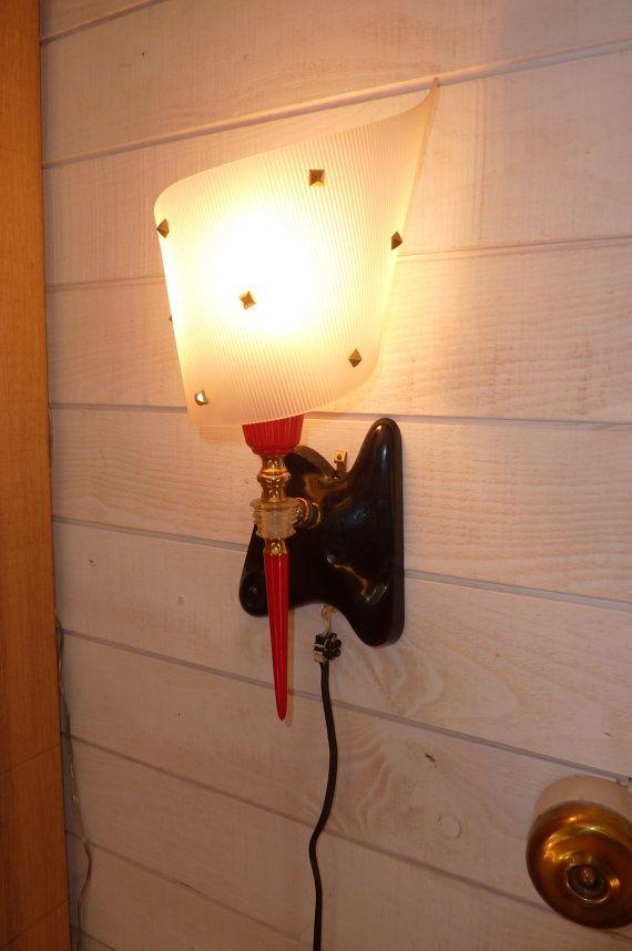 2 lampes appliques ARLUS GUARICHE des années 50 blanc noir rouge en