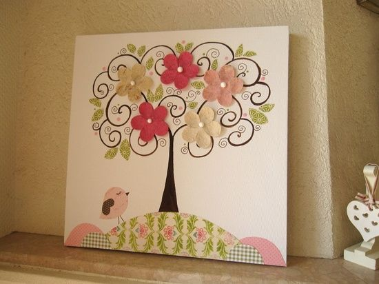 Unique Wall Decor For Nursery : Unique nursery art canvas kids room painting tree
