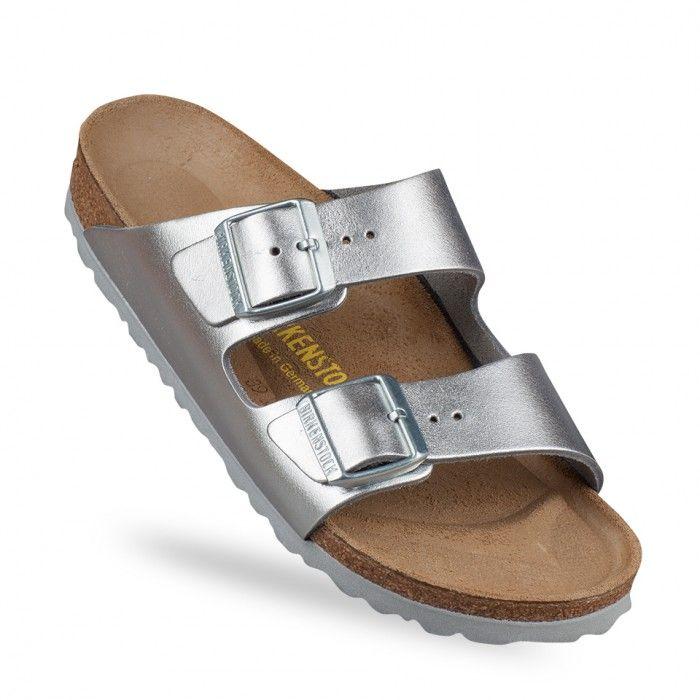 Birkenstock - Arizona - Sandales plates en cuir - Argent métallisé dXzlRiKM5