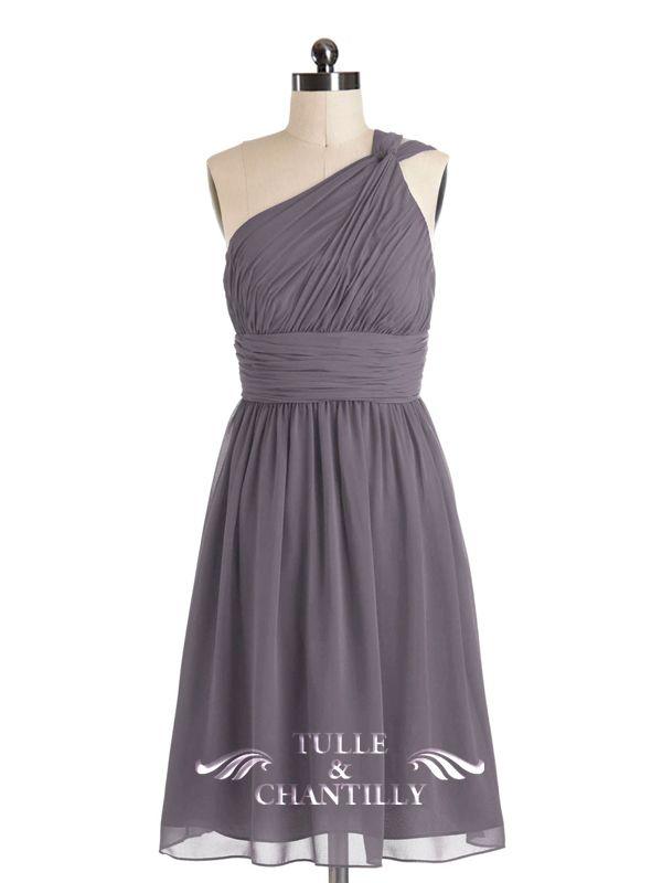 Chic Grey One Shoulder Pleated Chiffon Bridesmaid Dress ...