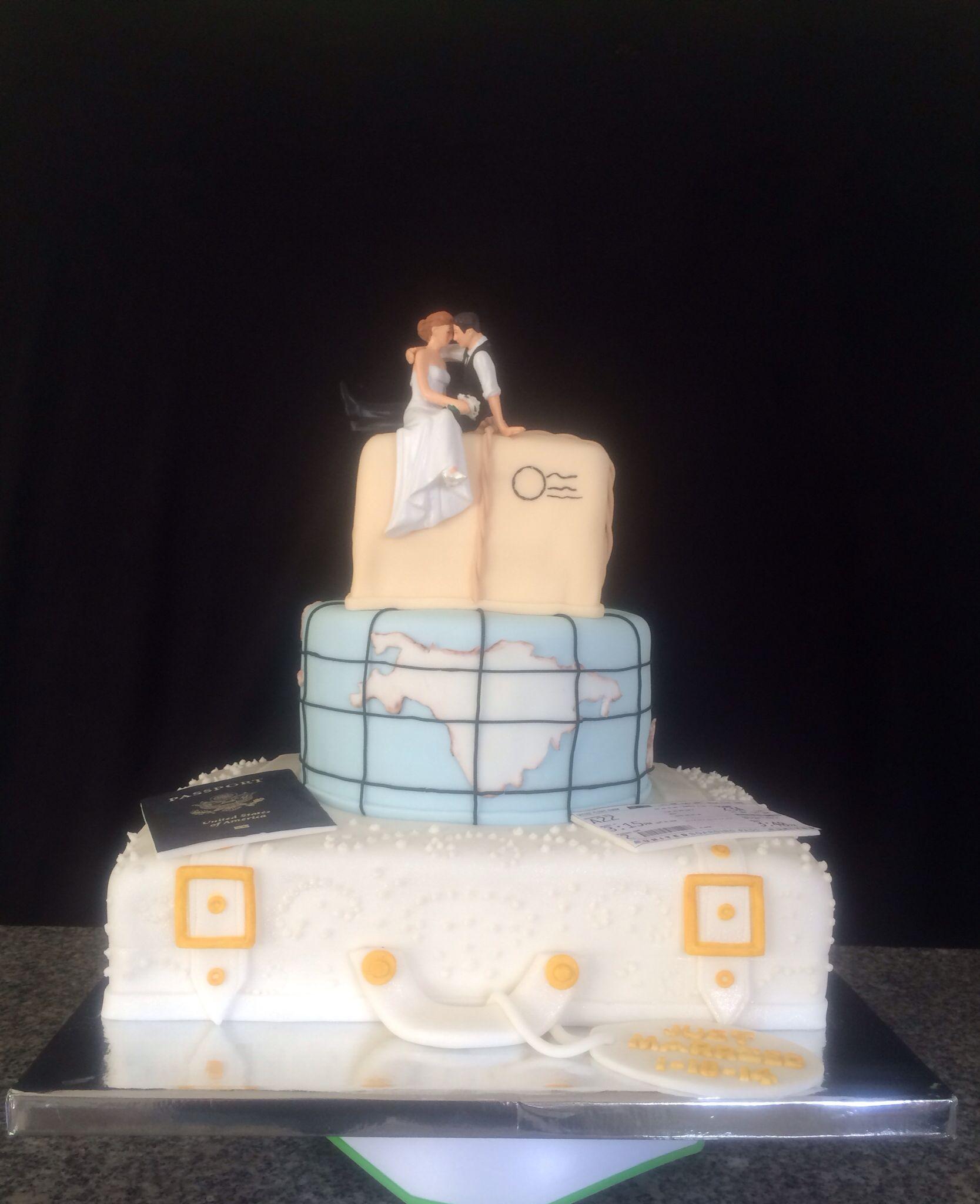 travel theme bridal shower cake