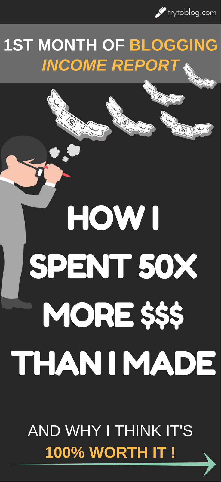 In my first month of blogging, I LOST 50X MORE MONEY THAN 'VE MADE! But I'm happy about it! Read the post to see all my expenses, incomes and lessons that I've learned in my first month of blogging!