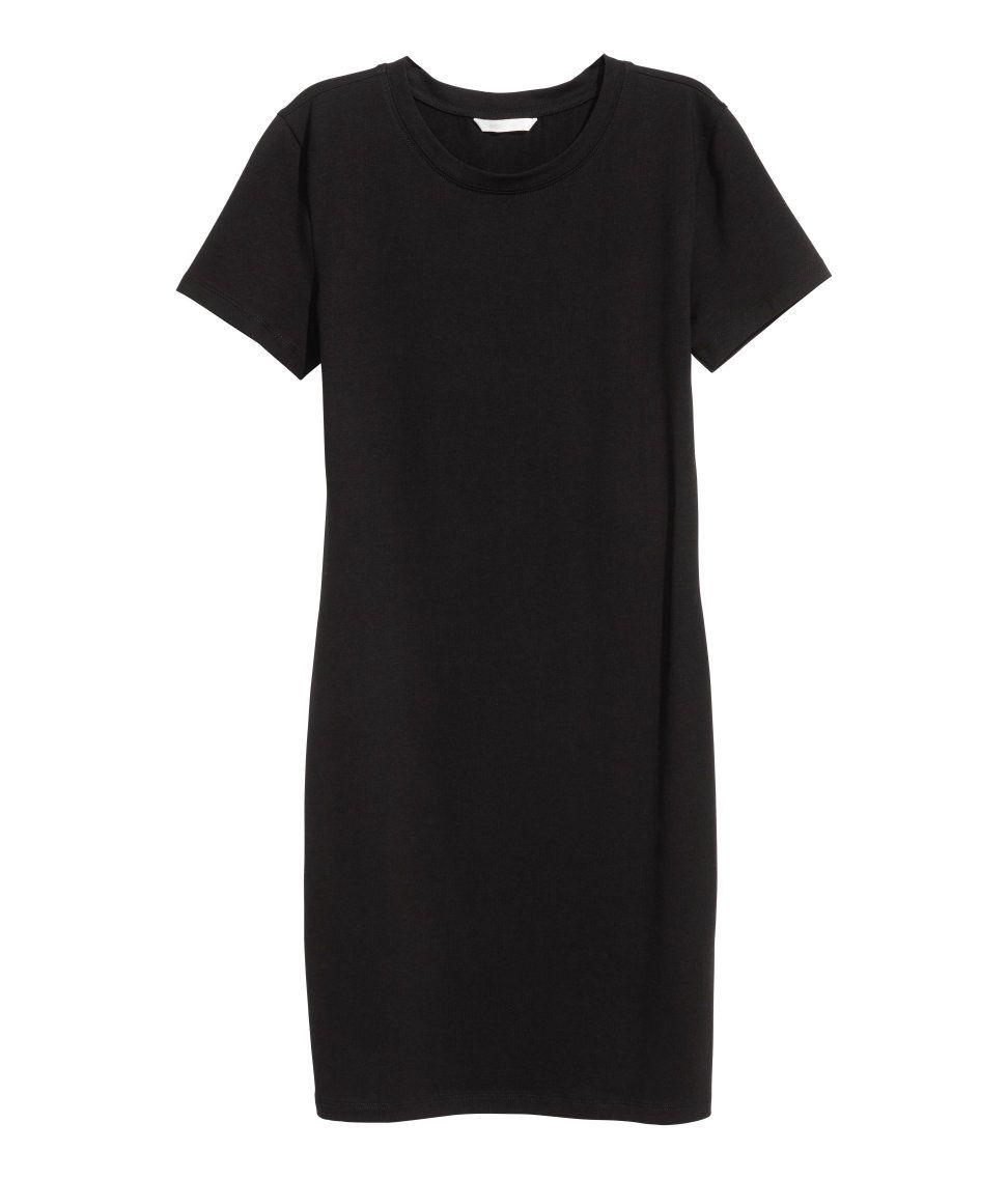 Echa un vistazo vestido de manga corta en punto suave de algodón