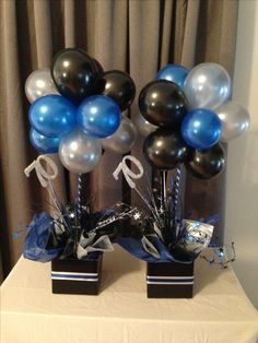 Blue Silver And Black Balloon Topiary Trees