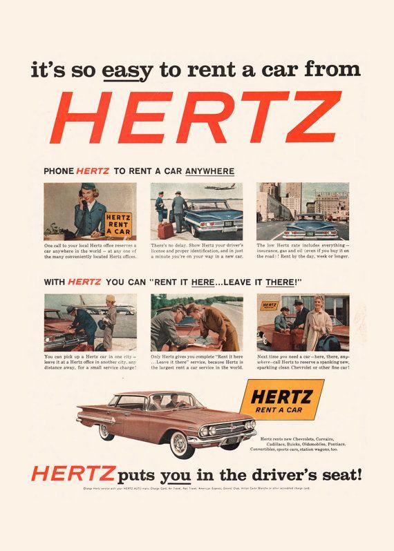 Retro Hertz Ad Classic Car Ad Pontiac Poster Professional