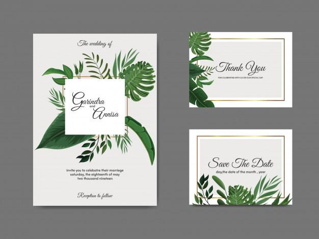 Elegant Wedding Invitation Card Template With Tropical