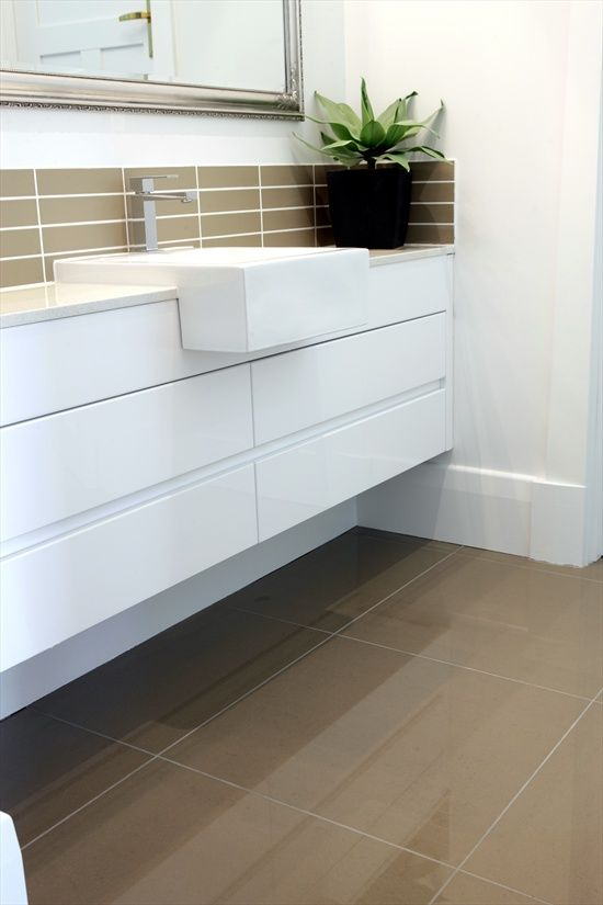 Dark Floor Tiles And Above Vanity With White Walls Like This Tile For The Living Area