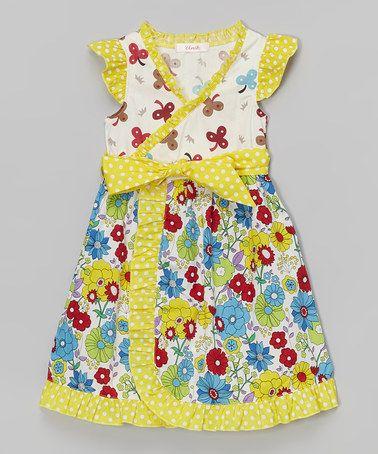 Look at this #zulilyfind! Yellow Polka Dot Surplice Dress - Toddler & Girls #zulilyfinds
