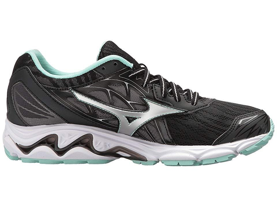 Mizuno Wave Inspire 14 Women S Running Shoes Black Silver Large Size Womens Shoes Black Running Shoes Womens Running Shoes