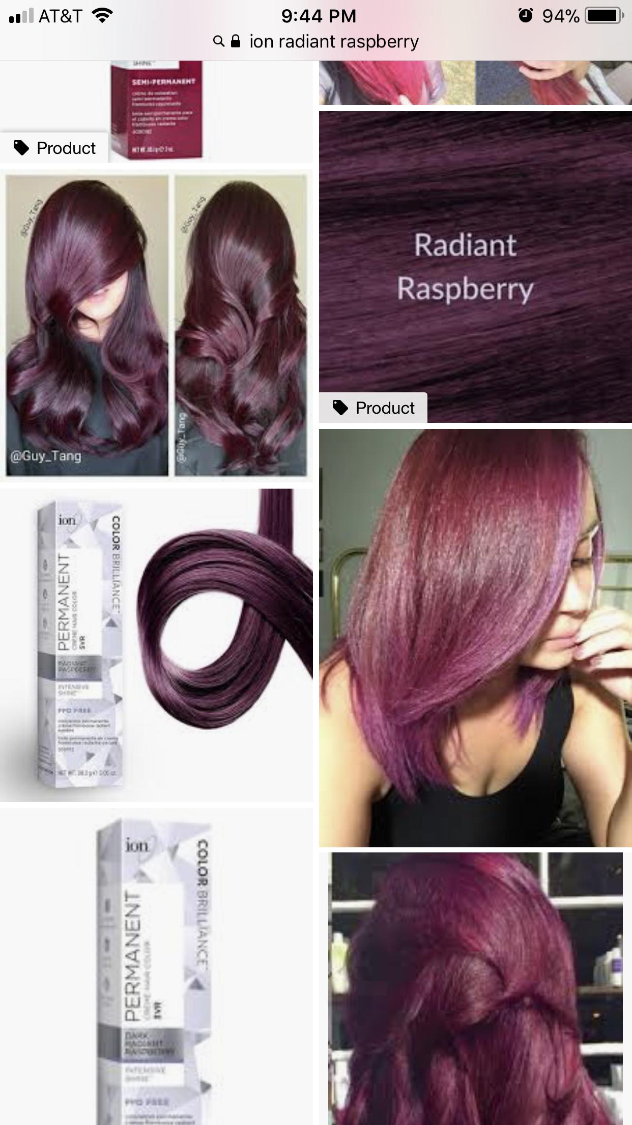 Ion Radiant Raspberry Ion Hair Colors Hair Dye Color Chart Chrome Hair Color