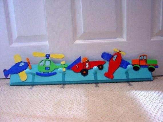Boy Room Transportation Theme Wall PEG HOOKS By