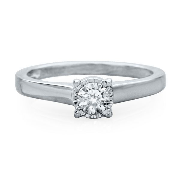 1/3 ct. Diamond Illusion Solitaire Engagement Ring in 10K Gold
