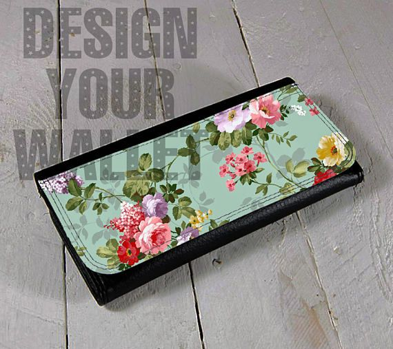 Womens Wallet Leather bifold floral design. card holder #floraldesign #floral #wallet #womenswallet