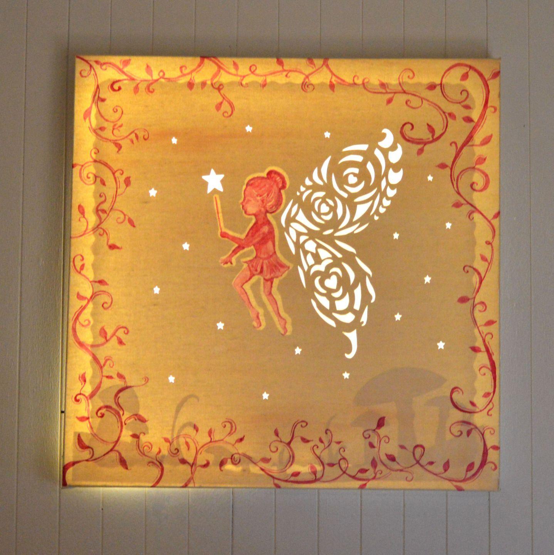 tableau lumineux pour décoration chambre d enfant fée papillon à