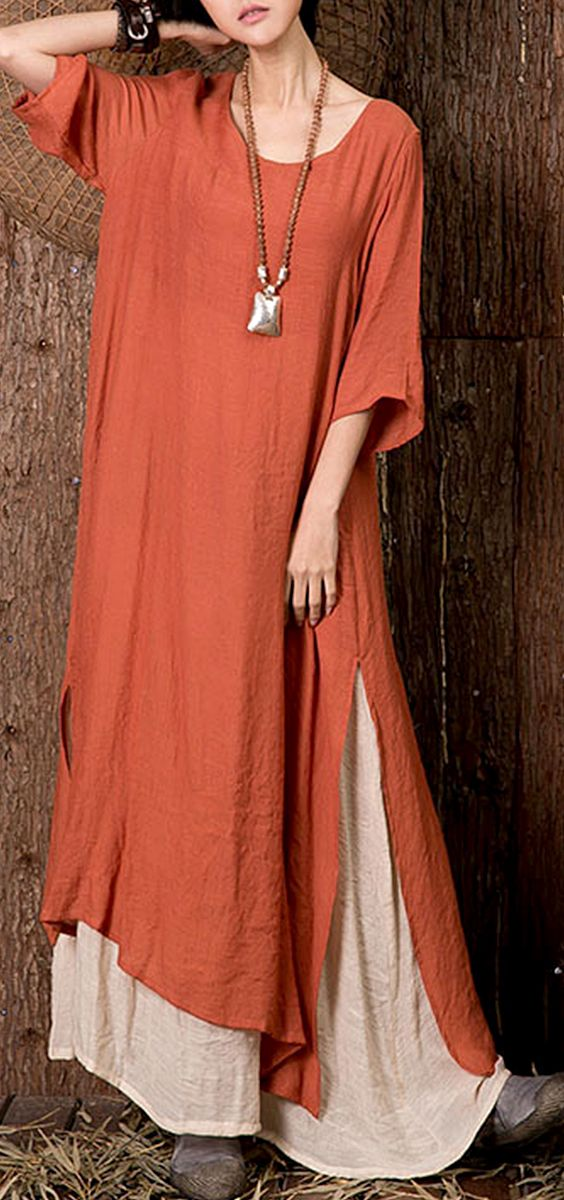 523796ad669 US  22.85 O-Newe Vintage Solid Half Sleeve Fake Two-Piece Maxi Dress For  Women