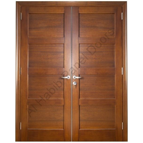 Ash wood solid double door hpd418 main doors al habib for Office main door design