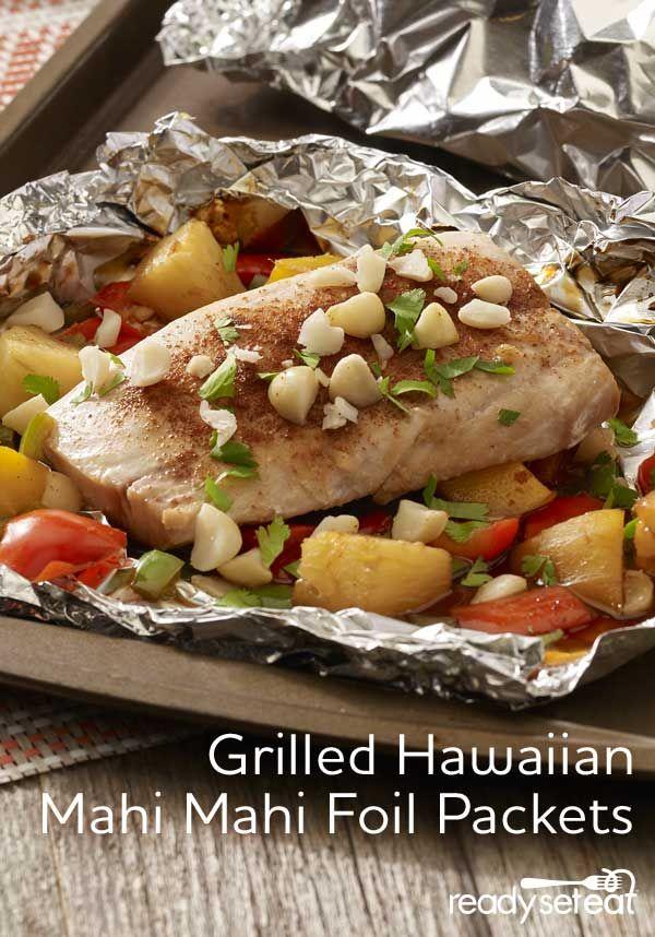 Grilled hawaiian mahi mahi foil packets recipe mahi mahi for Fish foil packets oven