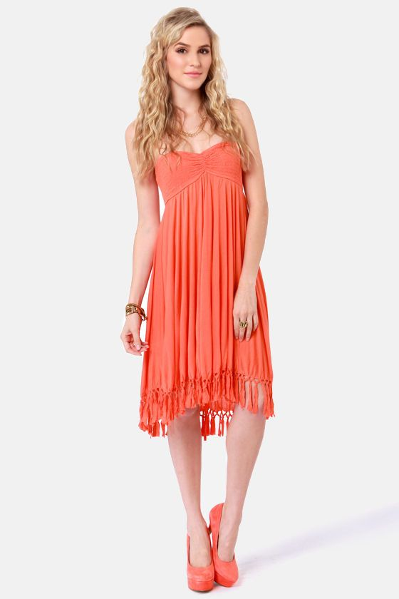 Roxy Native Breeze Dress - Coral Dress - Strapless Dress - $59.50