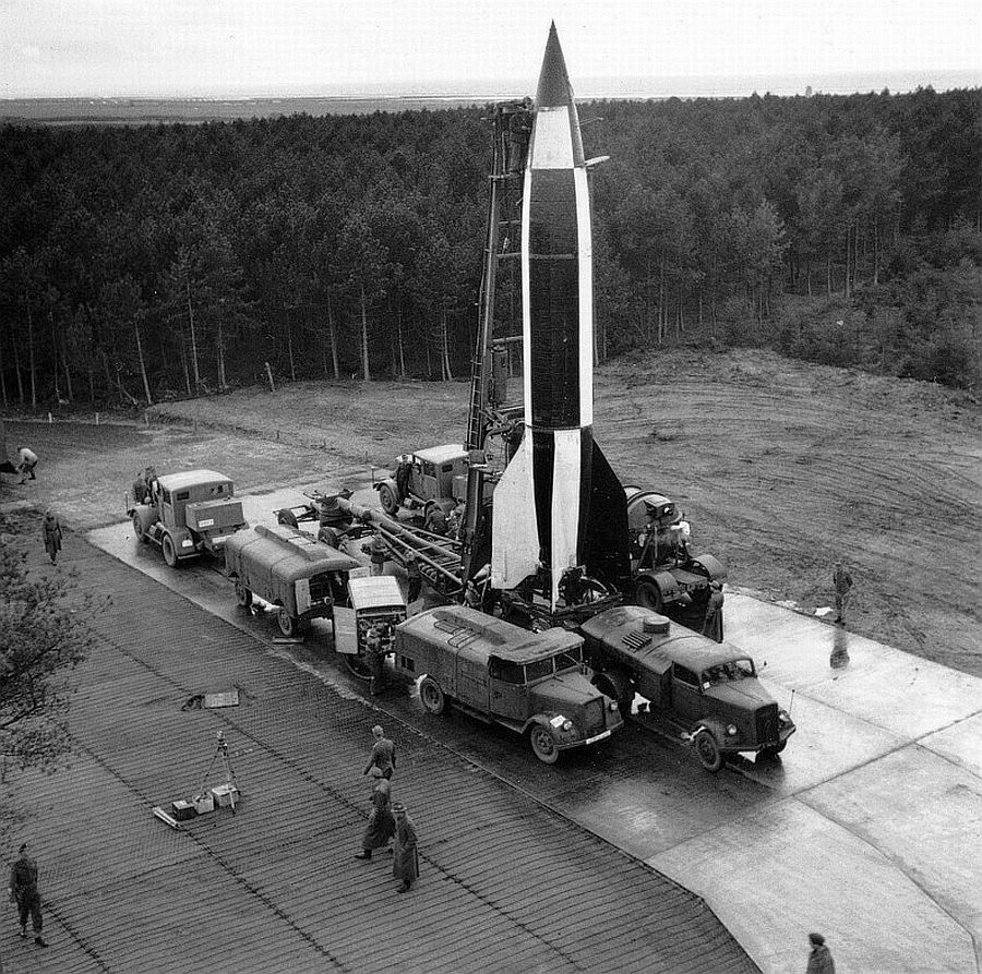 V2: WWII Photo Captured German V2 Rocket October 1945 WW2 B&W
