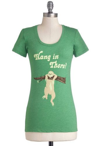 f5e8486f3 Sloths to Accomplish Tee - Mid-length, Jersey, Knit, Green, Print with  Animals, Novelty Print, Quirky, Short Sleeves, Green, Short Sleeve