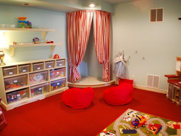 A stage is a cute idea for a playroom or corner of the bedroom...easy to make, kids would love it!