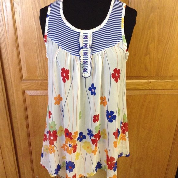 Flower power long blouse NEW POST Pretty flower/stripe long tunic sheer perfect for summer as beach cover up, with short or jeans gently worn has one small run on top/back no noticeable unless you look for it :) size tag was cut off cause it itched:( Forever 21 Tops Blouses
