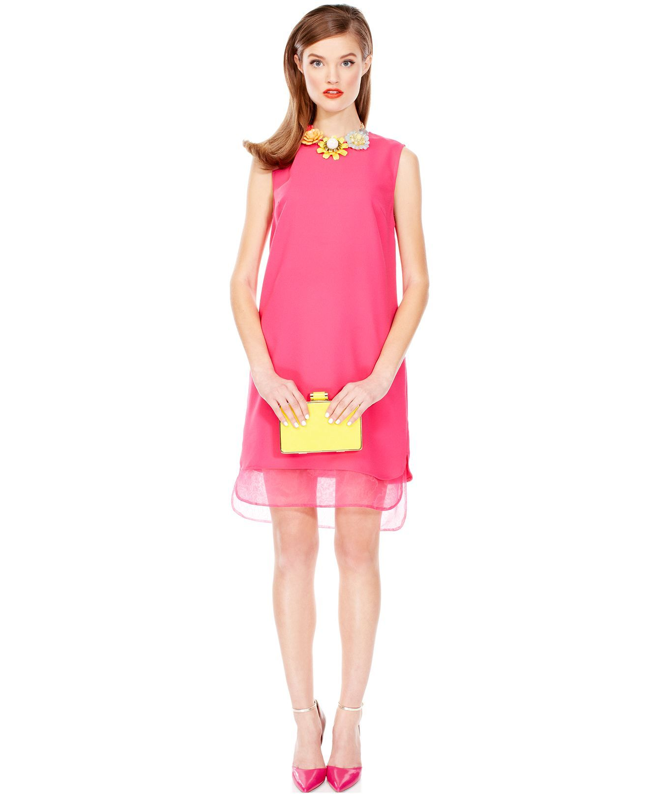 Pin By The Scoop On Trend We Love Sheer Details Womens Shift Dresses Hot Pink Dresses Love Clothing [ 1616 x 1320 Pixel ]