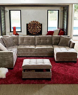 Elliot Fabric Microfiber 3-Piece Chaise Sectional Sofa - Furniture - Macyu0027s : microfiber chaise sofa - Sectionals, Sofas & Couches