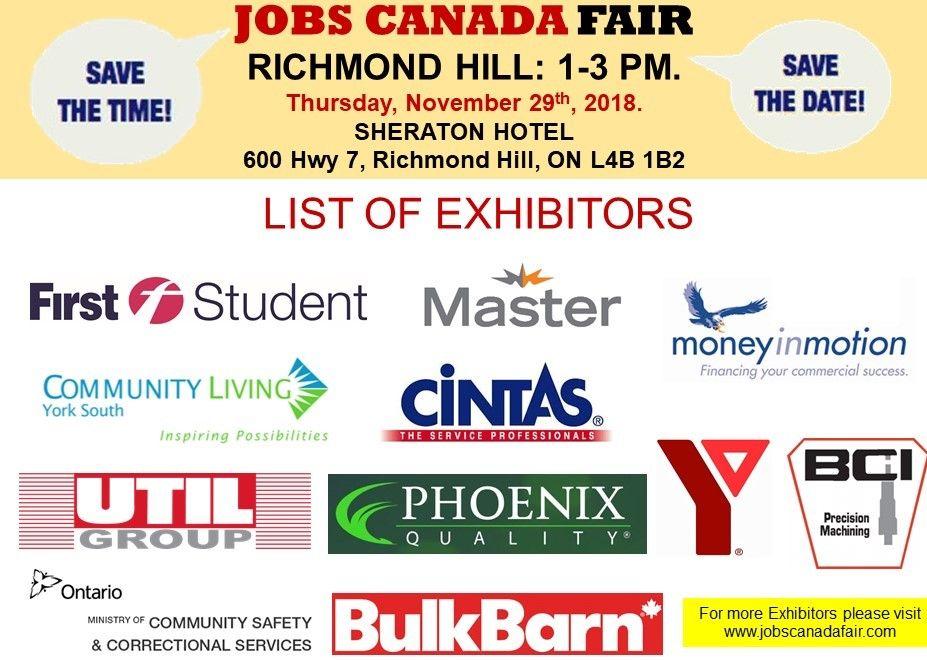 List Of Hiring Companies For Richmond Hill Job Fair November 29th