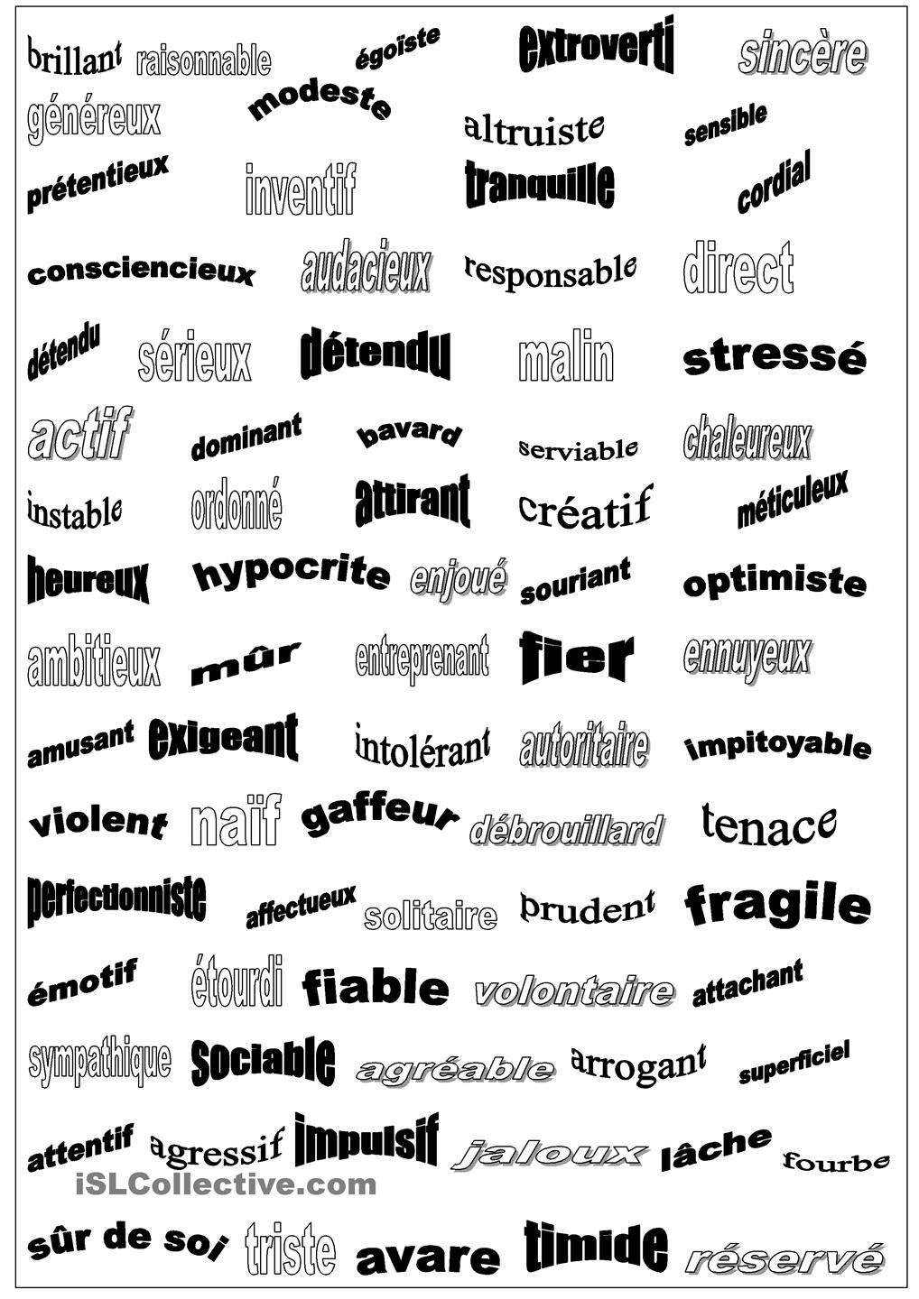 handout of french adjectives describing personality traits