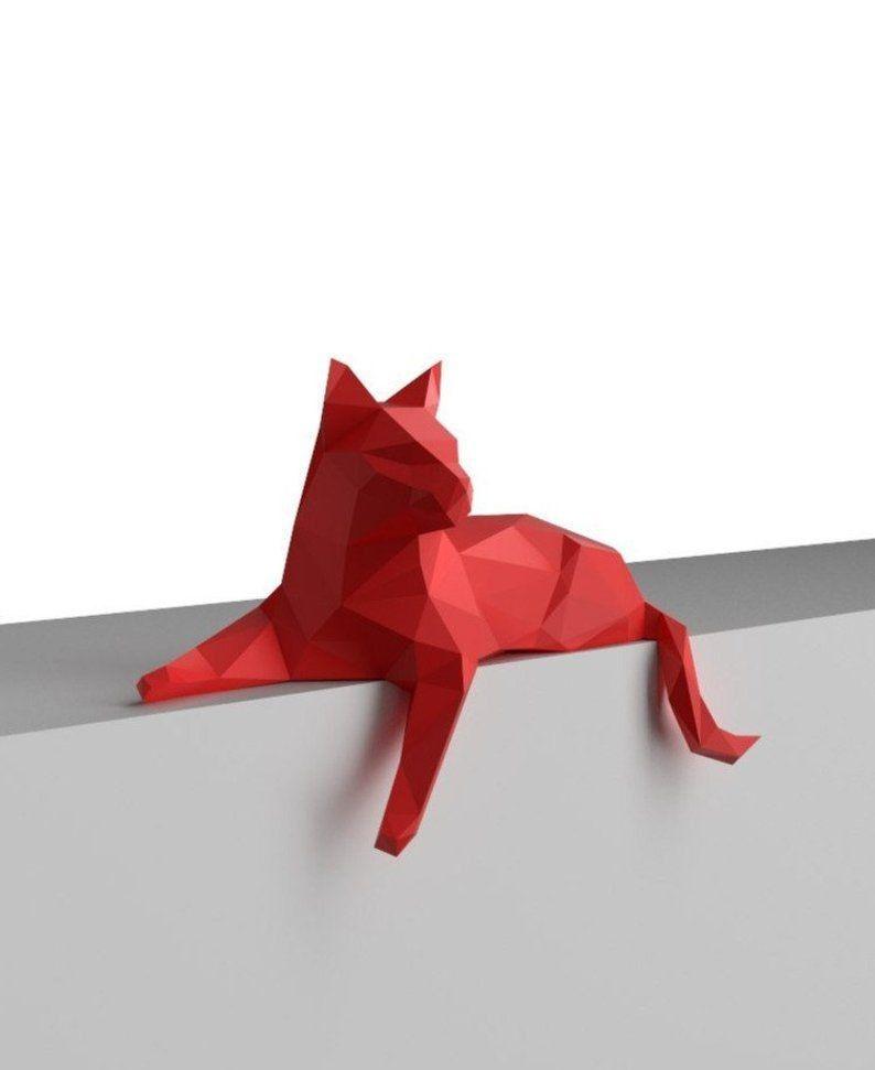 Diy Papercraft 3d Katze Druckfahiges Pdf 3d Puzzle Mach Es Selbst Papierskulptur Bastelarbeiten Aus Papier Und Pappe Kunst Auf Papier