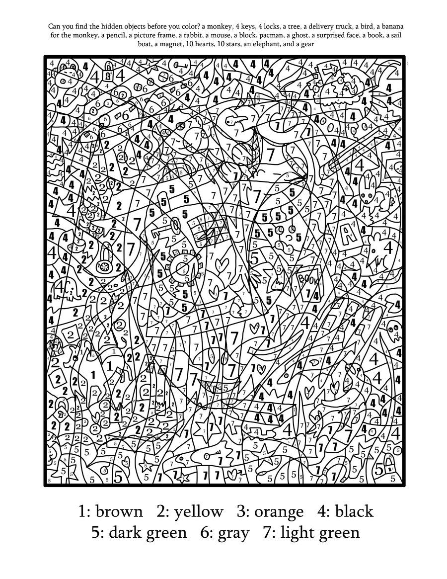 Difficult Color By Numbers Coloring Pages
