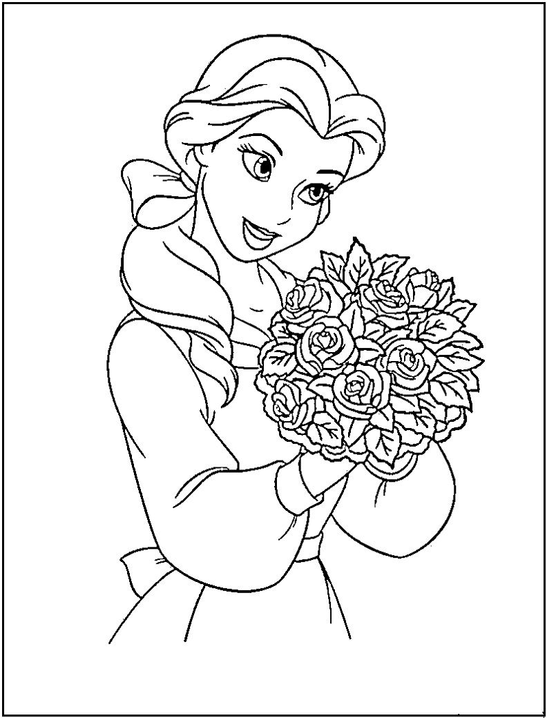 Princess belle coloring pages printable