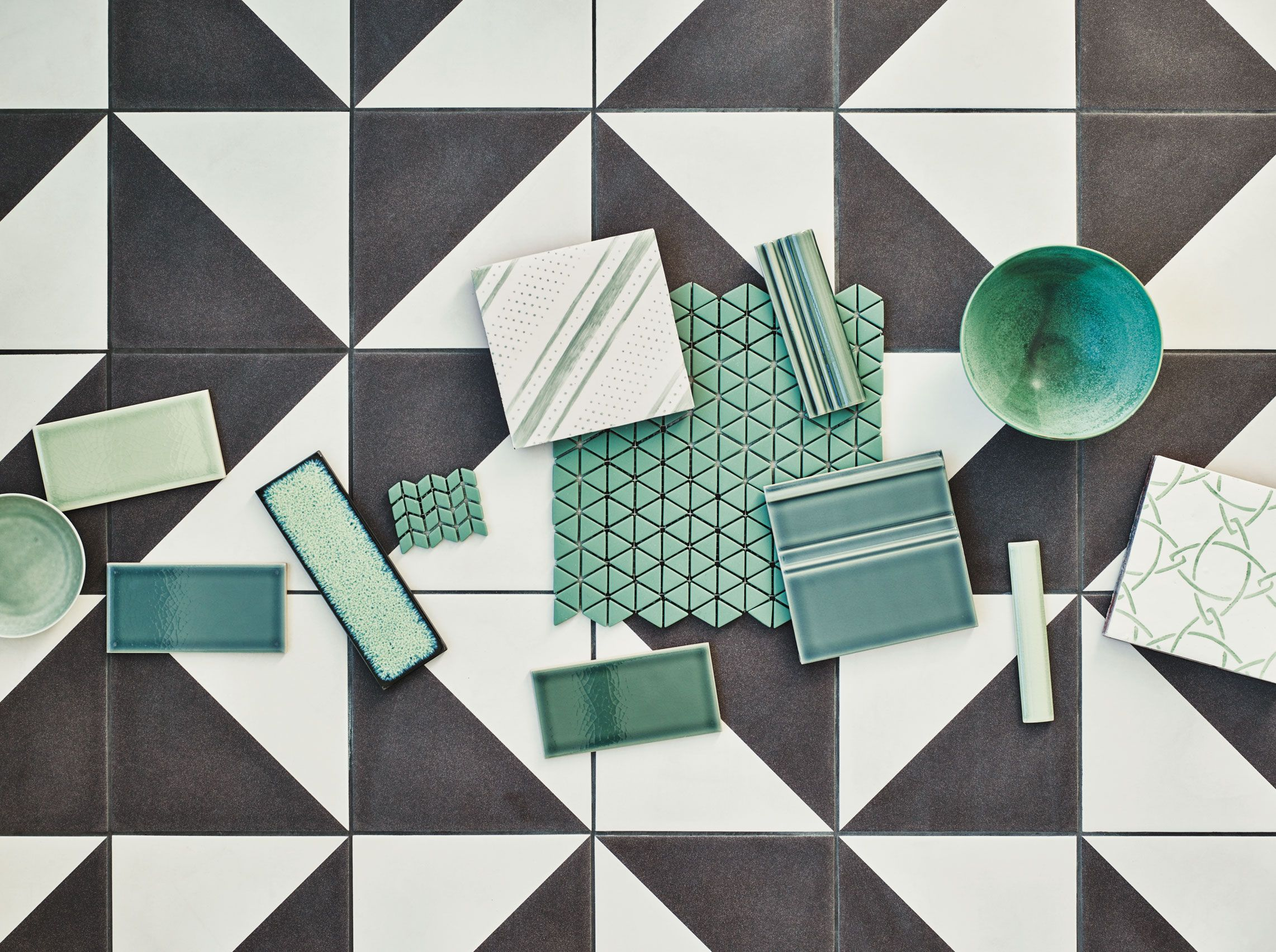 164147133f9 Claybrook - Semaphore Enterprise Porcelain Tile with a selection of glass  and glazed sample tiles  Metro Deco