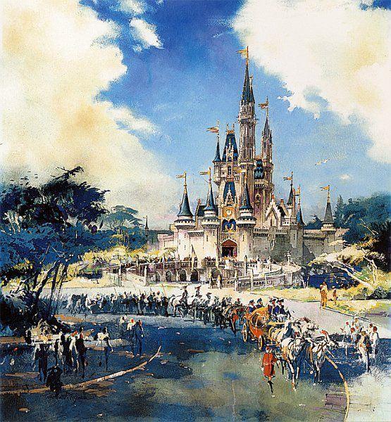 Walt Disney Imagineering Herb Ryman Masterpiece Original Drawing Of Cinderella Castle From 1967