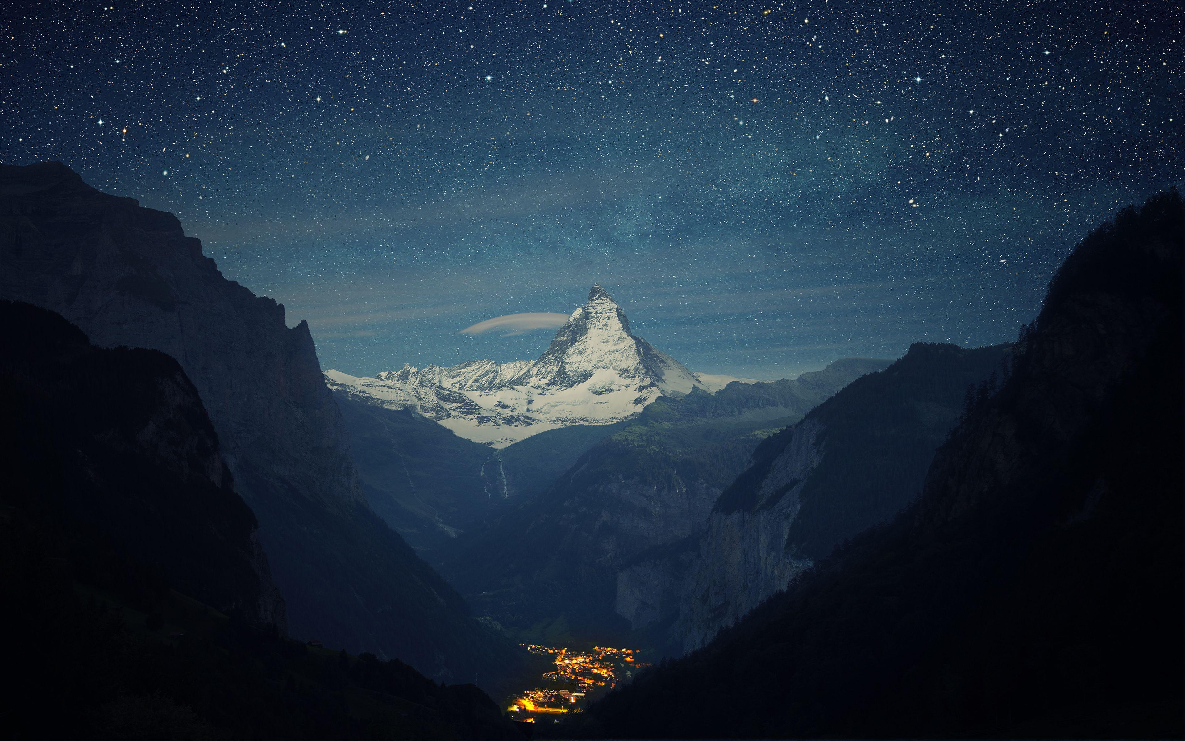Switzerland Alps Mountains Night Beautiful Landscape Nature Wallpaper Mountain Wallpaper Tree Hd Wallpaper