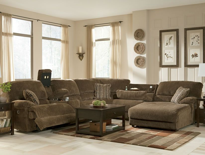 Comfortable Sectional Sofas Rustic Brown With Chaise And Table On The Rug White Floor Paired Art Decorati