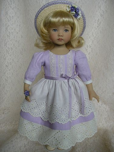 "A tea-length linen/vintage laces dress I made for my Dianna Effner 13"" Little Darling doll. 