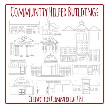 Community Helper Buildings Black And White Clip Art Pack Community Helper Clip Art Community Helpers