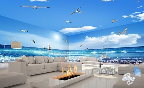 Photo of 3D Sea Wave Sail Boat Seagull Beach Entire Room Bathroom Wallpaper Wall Mural Art Decor  IDCQW-000208