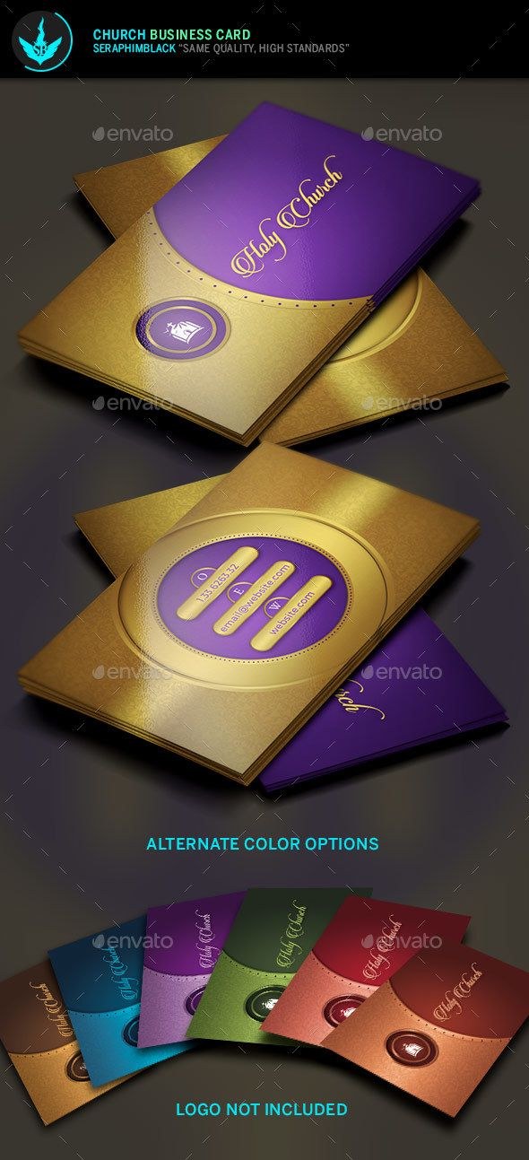 Gold Lavender Church Business Card | Business cards, Card templates ...