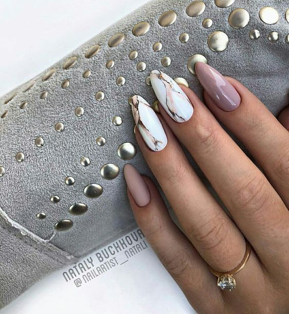 65+ The Most Eye-catching, Beautiful Nail Art Ideas 2019   Marble nail designs, Pretty nails, Manicure