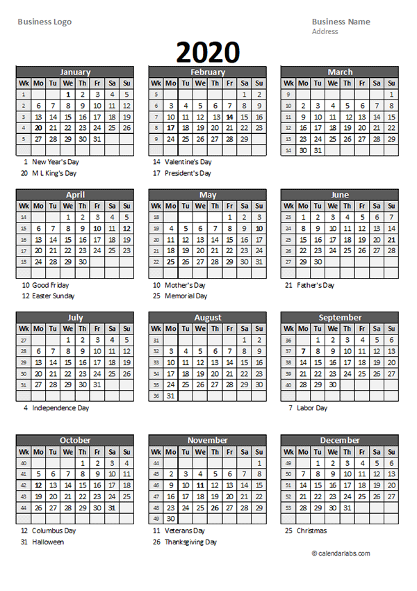 2020 Yearly Business Calendar With Week Number Free Printable Templates Calendar With Week Numbers Excel Calendar Template Business Calendar
