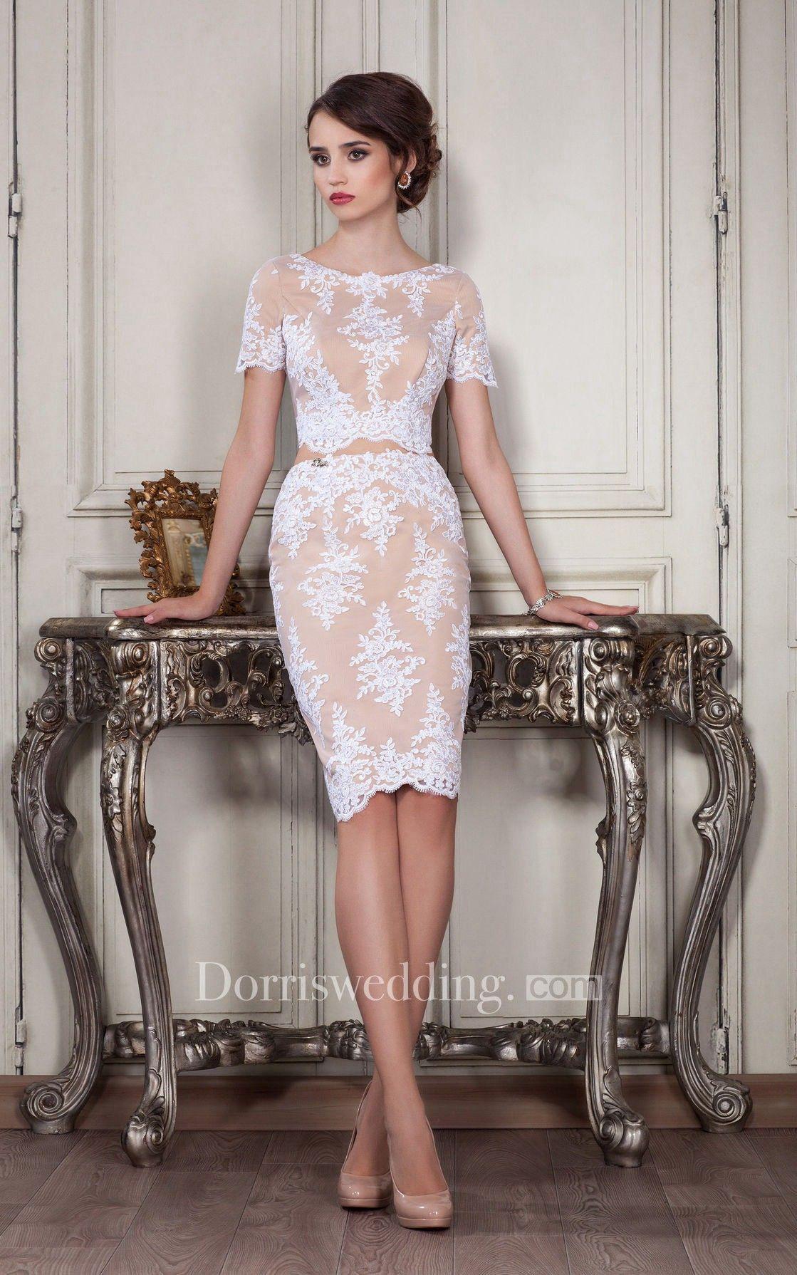 Sheath kneelength jewel short sleeve lace appliques zipper dress