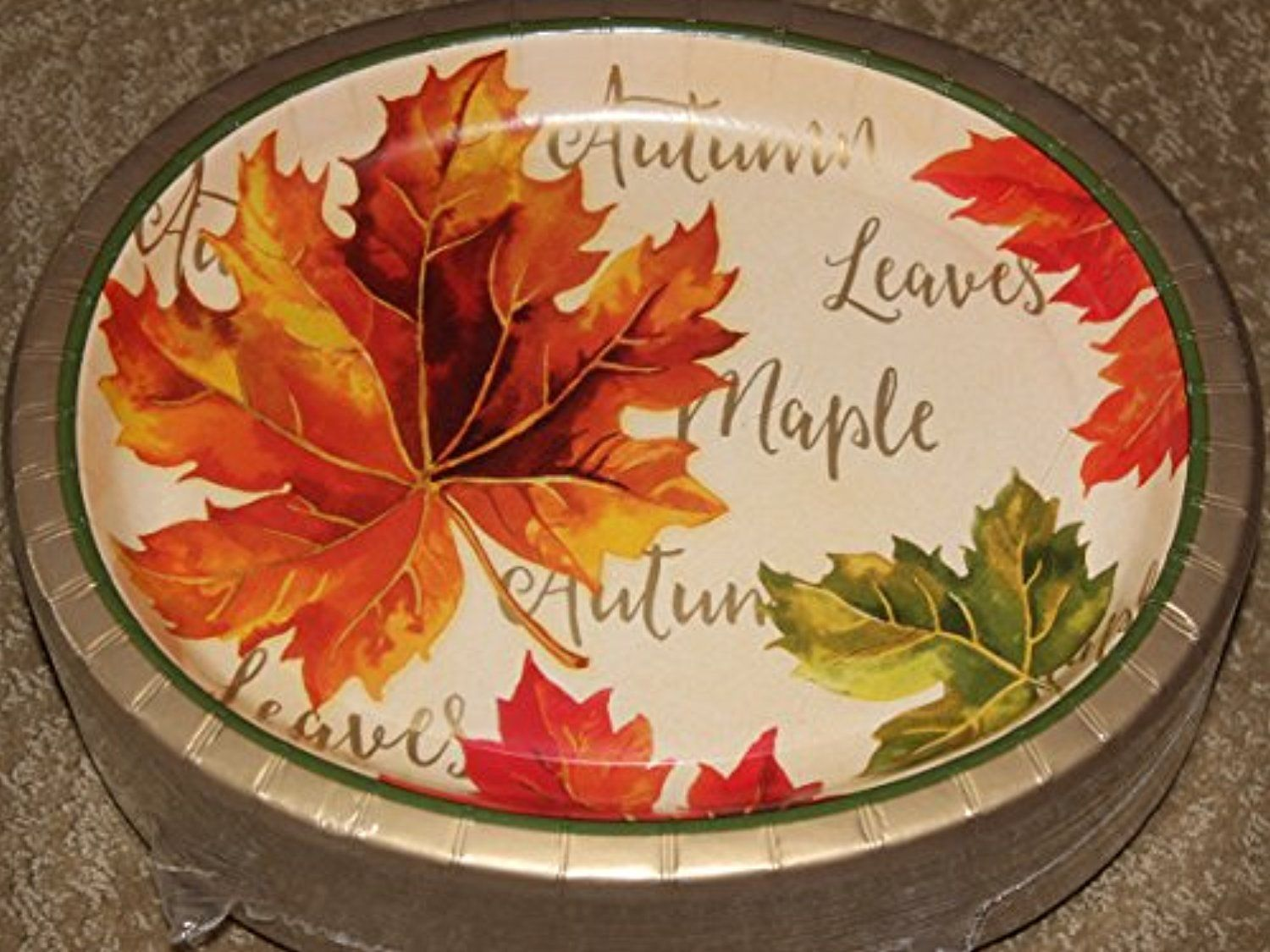 Thanksgiving Autumn Leaves Oval Paper Plates (Large) - X - 50 Ct Per Package Thanksgiving Paper Plates - Pack of 50 - x Oval Dinner plates. & Thanksgiving Autumn Leaves Oval Paper Plates (Large) - 10