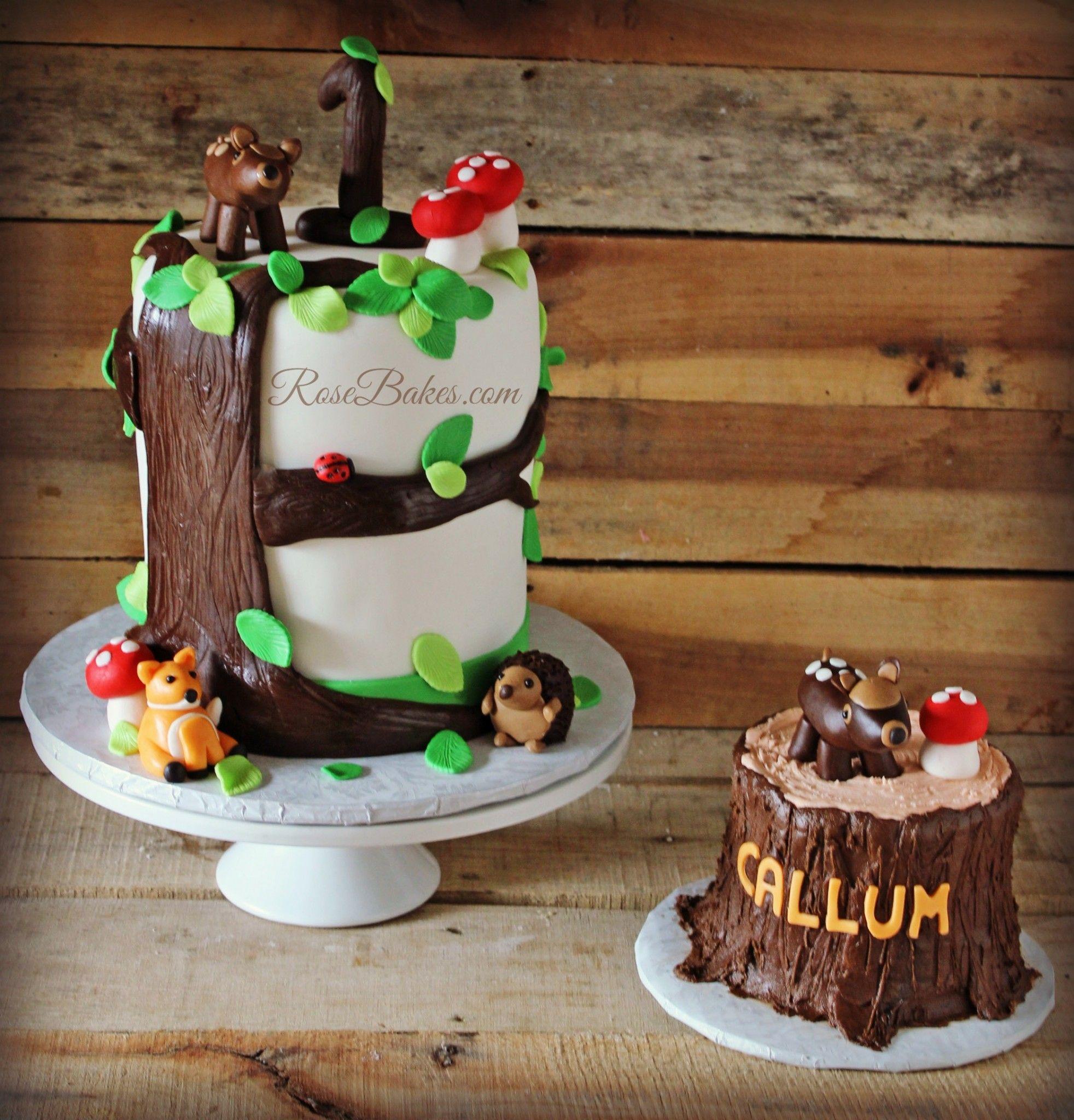Woodland Animals Tree Stump Baby Shower Cake